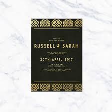 Gold Foil Wedding Invitations Art Deco Black U0026 Gold Foil Wedding Invitations