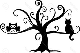 best 15 halloween night owl and cat in tree stock vector