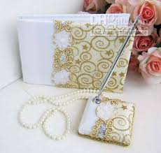 wedding guest book and pen set 2018 wedding guest books and pens set gold threads from cker