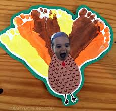 silly personalized footprint turkey craft for crafty morning
