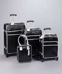 black white 4 piece luggage set