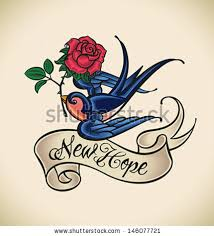 oldschool styled tattoo swallow banner rose stock vector 146077721