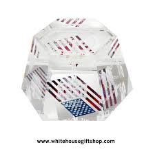 Geometric Flag Optical Glass Hexagonal Laser Geometric Display Or Paperweight