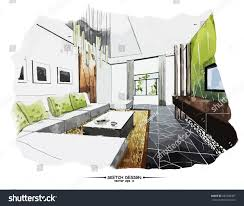 vector interior sketch design watercolor sketching stock vector