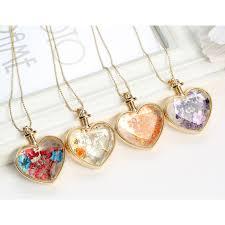 crystal glass pendant necklace images Beautiful dried flower heart crystal glass pendant necklace golden jpg