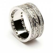 celtic rings with images Embossed celtic wedding ring with diamond trim celtic rings ltd jpg
