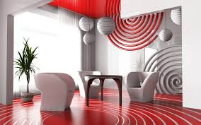 contemporary red and white living room circular decor and white