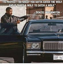Denzel Washington Training Day Meme - to protect the sheep you gotta catch the wolf and it tak esa wolf to