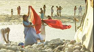 Sunshine Drapery People Ganges Rishikesh India Sd Stock Video 233 959 440