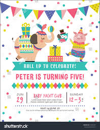 kids birthday party invitation card circus stock vector 631861697