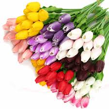 Long Stem Flowers 10pcs Pack Artificial Tulip Flowers Single Long Stem Bouquet