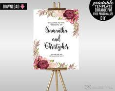wedding poster template wedding welcome poster program sign stationery printable template