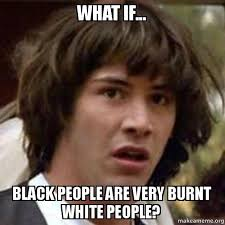 Memes About Black People - what if black people are very burnt white people conspiracy