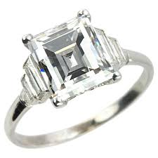 deco engagement rings deco 2 90 carat emerald cut engagement ring for sale