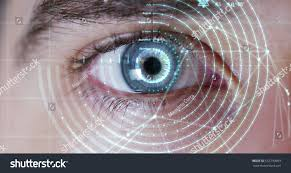 beautiful blue eye technology surgeon medicine stock photo