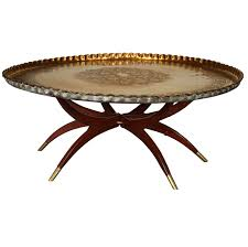 large moroccan round brass tray table on folding stand 45 in for