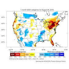 Arizona Temperature Map by Drought August 2016 State Of The Climate National Centers