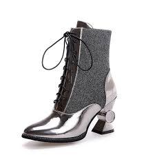 womens boots unique 2017 autumn shoe unique pointed toe ankle boots lace