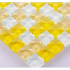 mosaic tile backsplash interlocking crystal glass tiles yellow