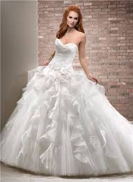 poofy wedding dresses gown sweetheart tulle organza ruffle big wedding dress