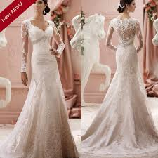 wedding dress lace back and sleeves 2015 sheer lace back wedding dress sheath v neck sleeve