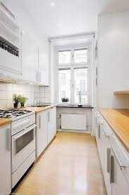 Kitchen Space Ideas White Galley Kitchen With Butcher Block Countertops Countertop