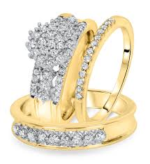 yellow gold wedding ring sets 1 carat trio wedding ring set 10k yellow gold