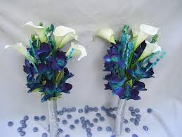 blue dendrobium orchids s bridemaid arm bouquet teal purple dendrobium