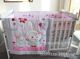 Crib Bedding Pattern Pink Rabbit Butterfly Flowers Home Pattern Crib Sets Include Quilt