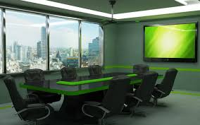 Back Painted Glass Conference Table Modern Minimalist Meeting Room With Black Glass And Green