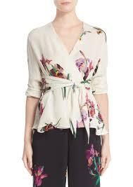 bird blouse etro etro floral bird print silk wrap blouse casual shirts