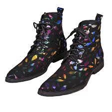 us size 5 12 fashion black rainbow lace up leather mens dress