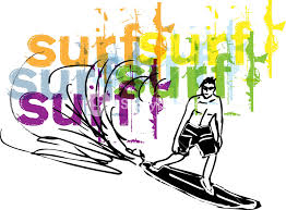 sketch of man with surfboard vector illustration royalty free