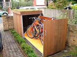 placing outdoor bike storage shed in garden landscape home