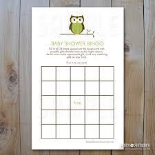 owl baby shower bingo game cards green owl instant