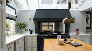 copper kitchen backsplash u shape kitchen decoration using large skylight in kitchen along
