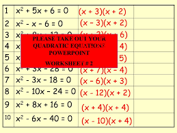 please take out your quadratic equations powerpoint