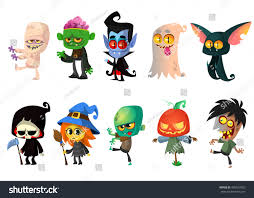 halloween graphic art set halloween characters vector mummy zombie stock vector