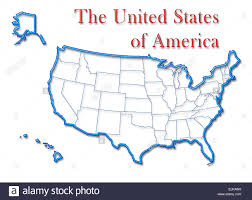 United States Of Anerica Map by United States Of America Map With Neon Blue Outline And Red