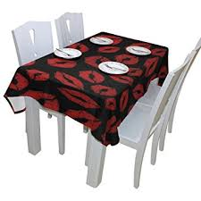 tablecloth for 54x54 table amazon com baihuishop red lip floral print tablecloth rectangular