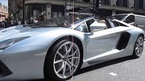 silver lamborghini silver lamborghini aventador roadster exhaust noise youtube