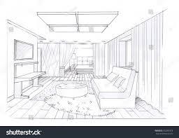 sketch interior idea living room modern stock illustration