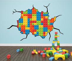 lego themed bedroom ideas wall art kids lego cracked wall sticker