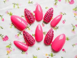pink rhinestone stiletto nails almond nails fake nails