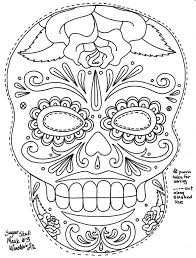 skull coloring pages sun flower pages