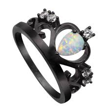 new arrival black gold plated elegant crown shaped fire opal ring