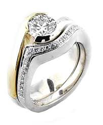 matching wedding rings for him and matching tension set rings by novori