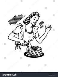 retro martini clip art woman decorating cake retro clip art stock vector 60129487