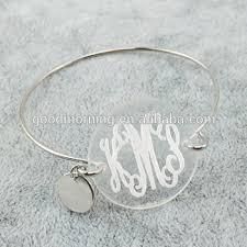 monogram bangle bracelet icon acrylic disc monogram wire bangle bracelet buy icon acrylic