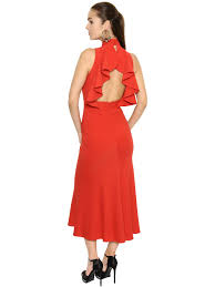 alexander mcqueen open ruffled back crepe midi dress red women
